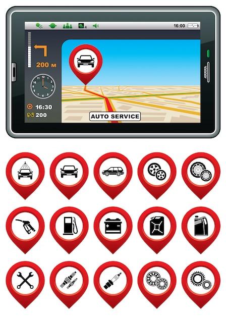 Navigateur Gps Avec Le Service Automatique De Pointeur. Vecteur Premium