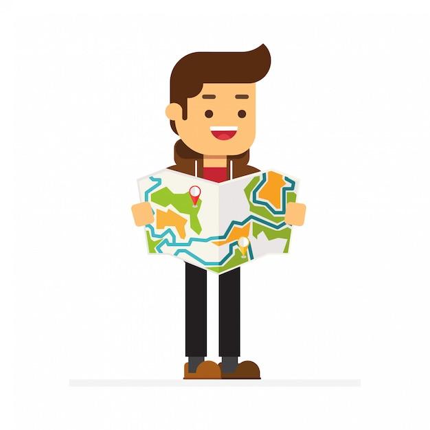 Navigation sur carte locale Vecteur Premium