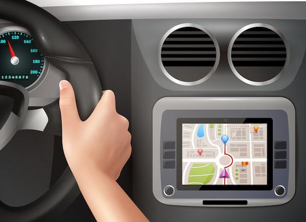 Navigation gps en voiture Vecteur gratuit