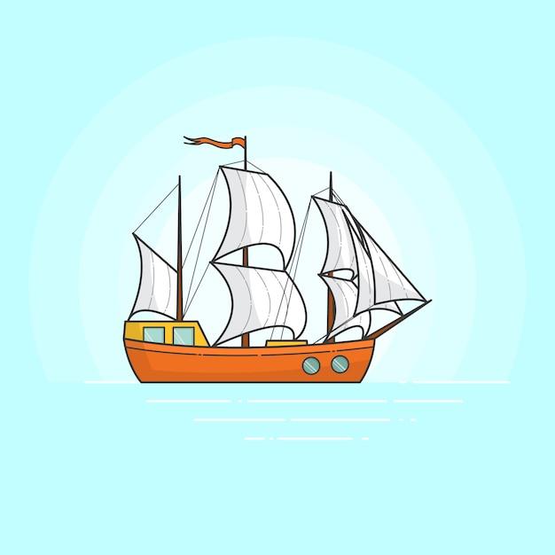 Navire De Couleur Avec Des Voiles Blanches En Mer Isole Sur Fond Blanc Banniere De Voyage