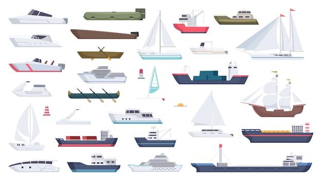 Navire De Mer. Voyage Bateau Canotage Illustrations Bateau à Moteur Océan Grand Navire Dessin Animé Vecteur Premium