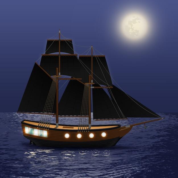 Navire vintage avec des voiles noires au fond de la mer de nuit Vecteur gratuit