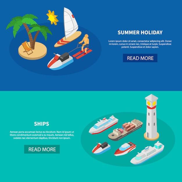 Navires Bannières Isométriques Vecteur gratuit