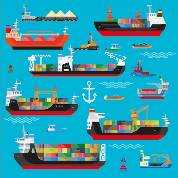 Navires, bateaux, fret, logistique, transport et expédition Vecteur Premium