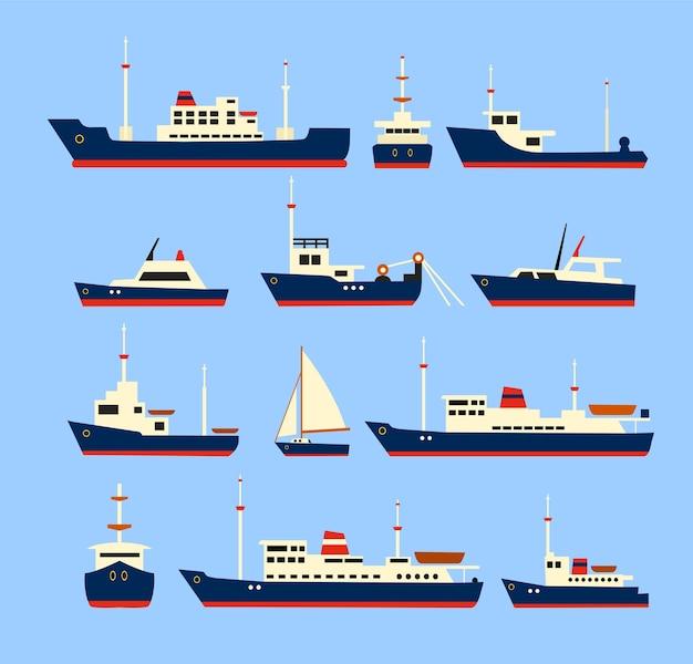 Navires fixés. silhouettes de divers navires et yachts. Vecteur Premium