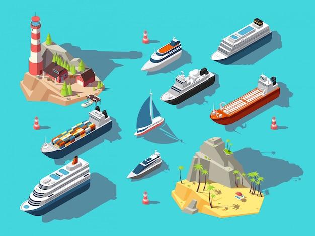 Navires Isométriques. Bateaux Et Voiliers, île Tropicale Océanique Avec Phare Et Plage. Illustration 3d Vecteur Premium