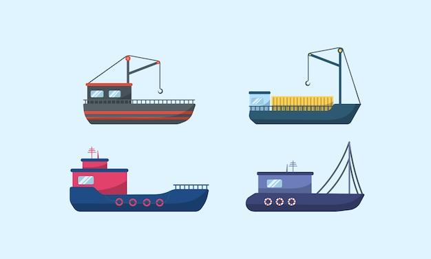 Navires à Moteur De Mer, Voiliers Océaniques, Yachts Et Catamarans, Transport Maritime Isolé. Navires De Mer Traditionnels, Collection De Transport Maritime. Livraison Bateau De Croisière Et Voilier. Vecteur Premium