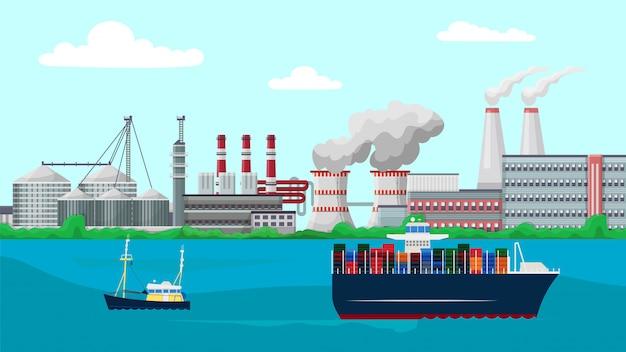 Navires Porte-conteneurs Naviguent Devant Les Bâtiments De L'usine D'usine Vecteur Premium