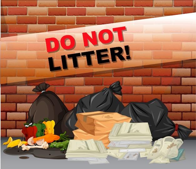 Ne jetez pas de panneau et de nombreux déchets Vecteur gratuit
