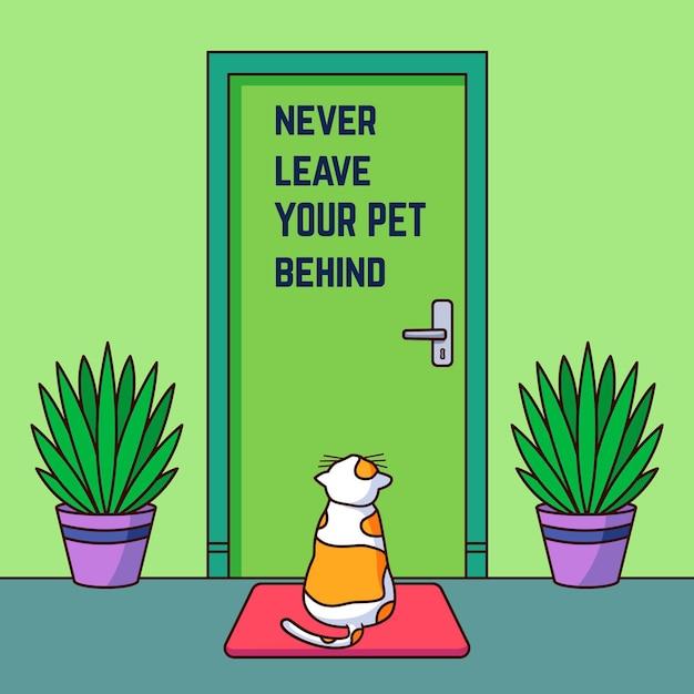 Ne Laissez Jamais Votre Animal De Compagnie Derrière L'illustration Avec Un Chat Vecteur gratuit