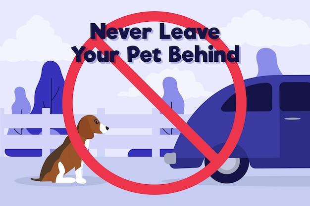 Ne Laissez Jamais Votre Animal De Compagnie Derrière L'illustration De Concept Avec Chien Et Voiture Vecteur gratuit