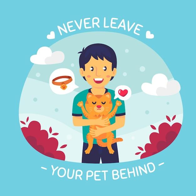 Ne Laissez Jamais Votre Animal De Compagnie Derrière Vecteur gratuit