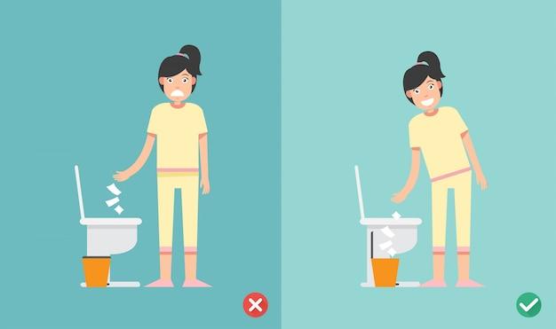 Ne mettez pas de papier de soie dans les toilettes Vecteur Premium