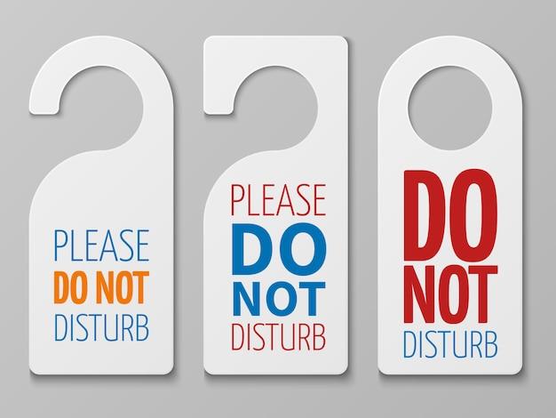 Ne pas déranger les signes de la chambre. collection de cintres de porte d'hôtel Vecteur Premium