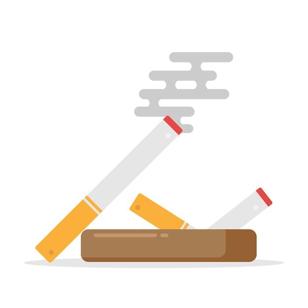 Ne Pas Fumer La Cigarette Et Signe, Icône De Cigarette Vecteur Premium