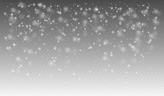 Neige Qui Tombe Réaliste, Flocons De Neige De Différentes Formes Et Formes, Temps D'hiver Vecteur Premium