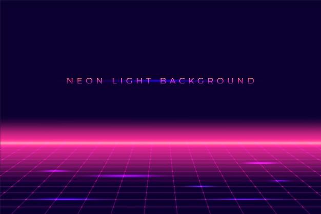 Néon 3d paysage de fond des années 80 style Vecteur Premium