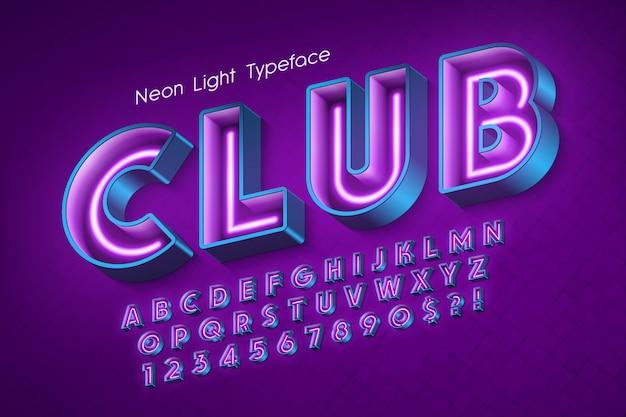Néon alphabet 3d, police éclatante supplémentaire. Vecteur Premium