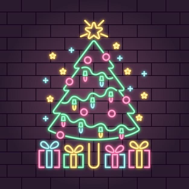Néon Arbre De Noël Avec Des Flocons De Neige Et Des Boîtes-cadeaux Vecteur gratuit