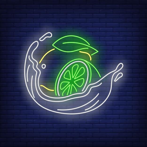 Néon au citron, citron vert et liquide Vecteur gratuit