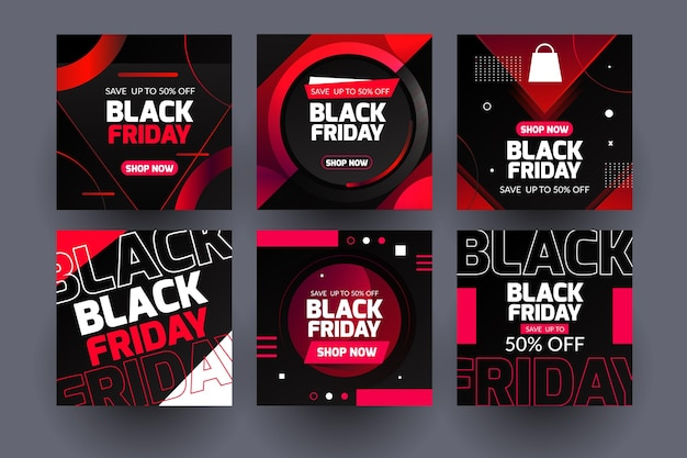 Neon Black Friday Instagram Posts Vecteur gratuit