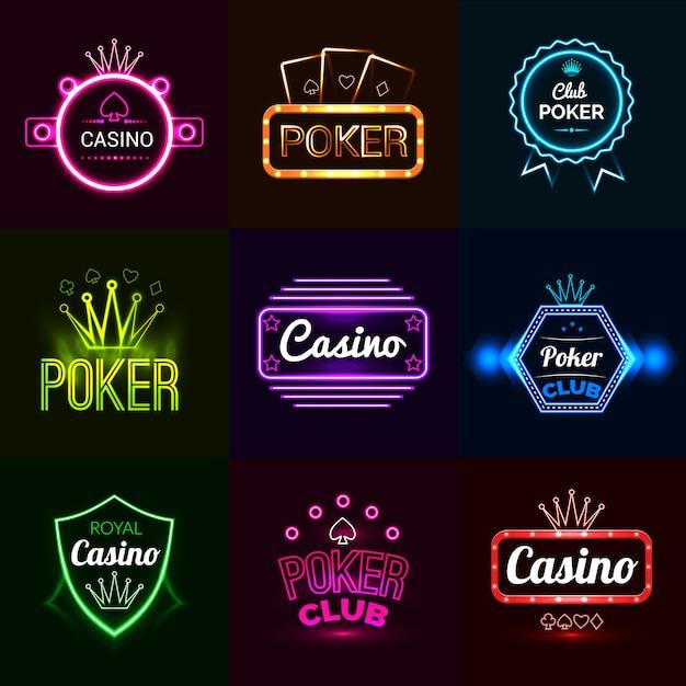 Neon casino emblems Vecteur gratuit
