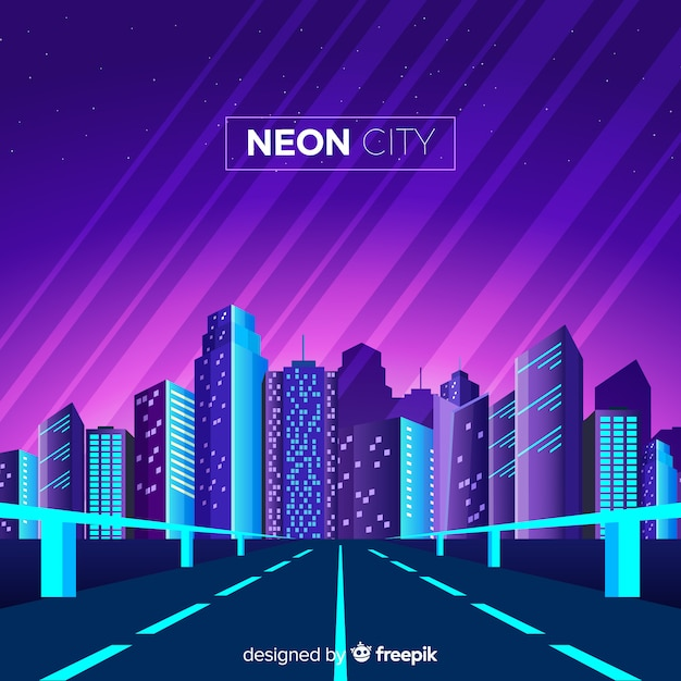 Neon city background Vecteur gratuit