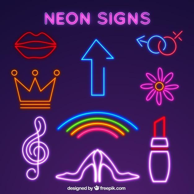 Neon collection signe de lumière Vecteur gratuit