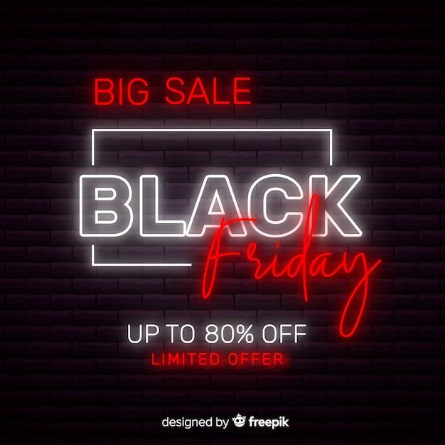 Néon coloré noir vendredi Vecteur gratuit