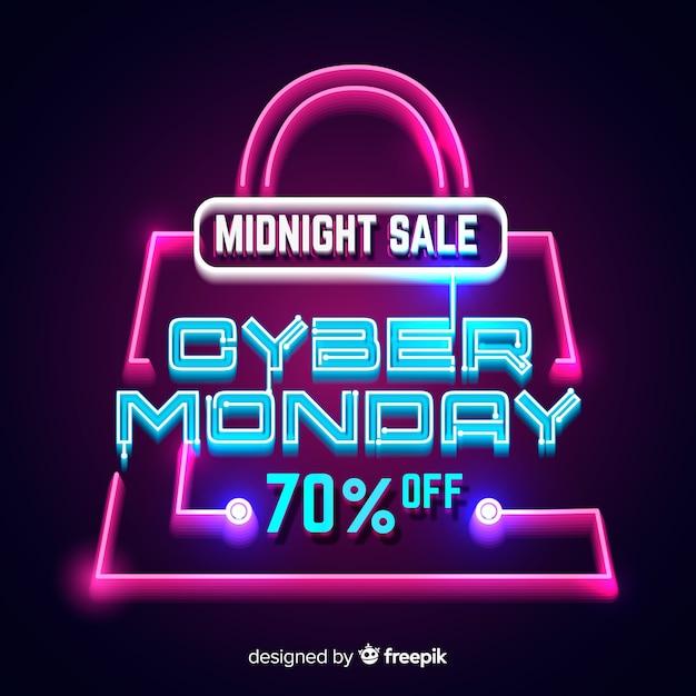 Neon Cyber Lundi Avec Un Sac à Provisions Vecteur gratuit