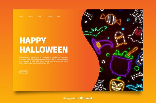 Néon halloween page de destination Vecteur gratuit