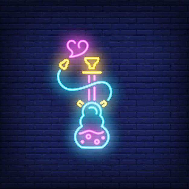 Néon icône de narguilé avec fumée en forme de coeur Vecteur gratuit