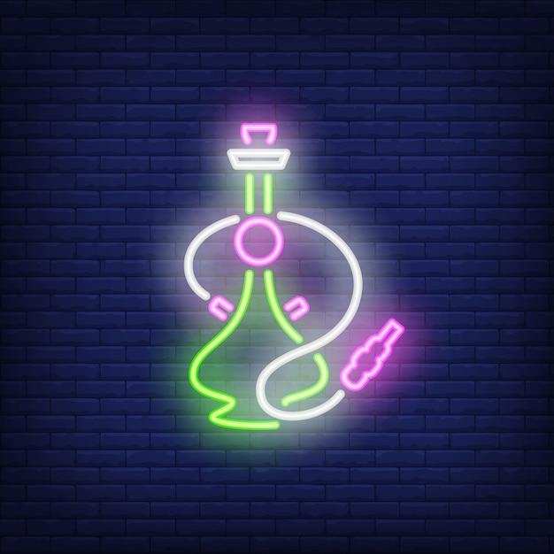 Néon icône de narguilé vert et rose Vecteur gratuit