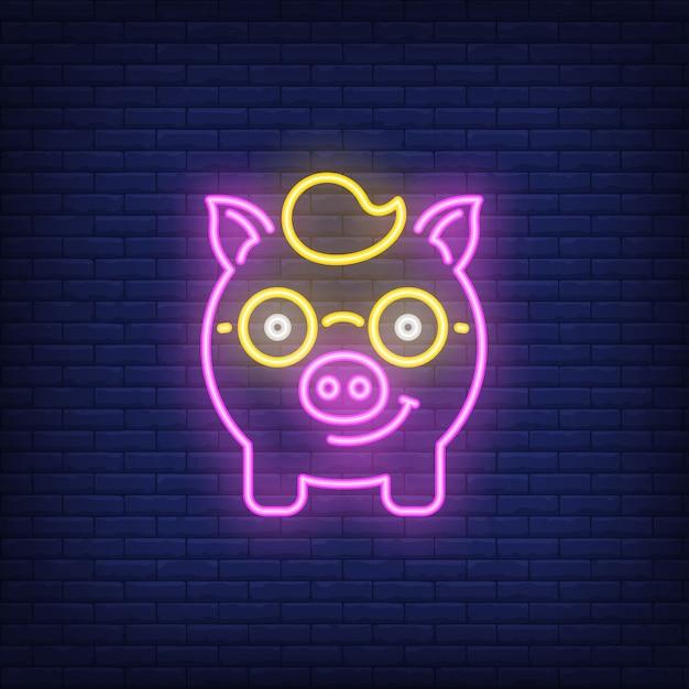 Néon icône de nerd cochon Vecteur gratuit