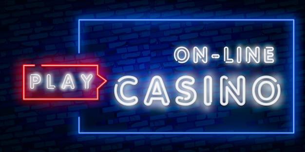 Néon isolé réaliste du casino en ligne Vecteur Premium