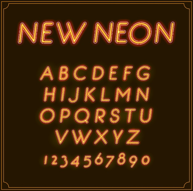 Neon Italic Font Type Alphabet. Brillant. Avec Des Chiffres. Vecteur Premium
