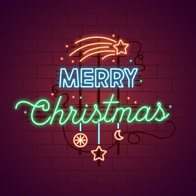 Néon Joyeux Noël Avec étoiles Filantes Vecteur gratuit
