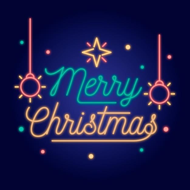 Neon Joyeux Noël Avec Des Flocons De Neige Et Des Boules De Noël Vecteur gratuit