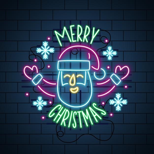 Néon Joyeux Noël Et Joyeux Visage De Père Noël Vecteur gratuit