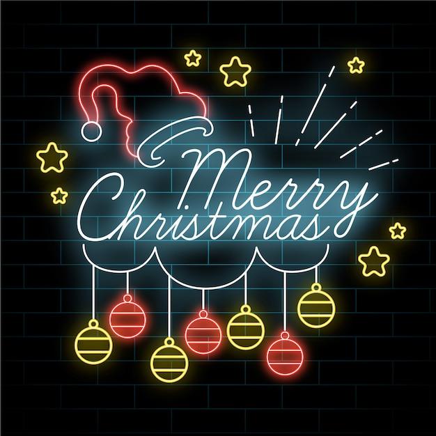 Neon Joyeux Noel Avec Suspension Boules De Noel Vecteur gratuit