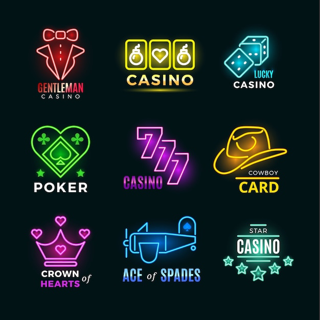 Néon light poker club et casino vector ensemble de signes Vecteur Premium