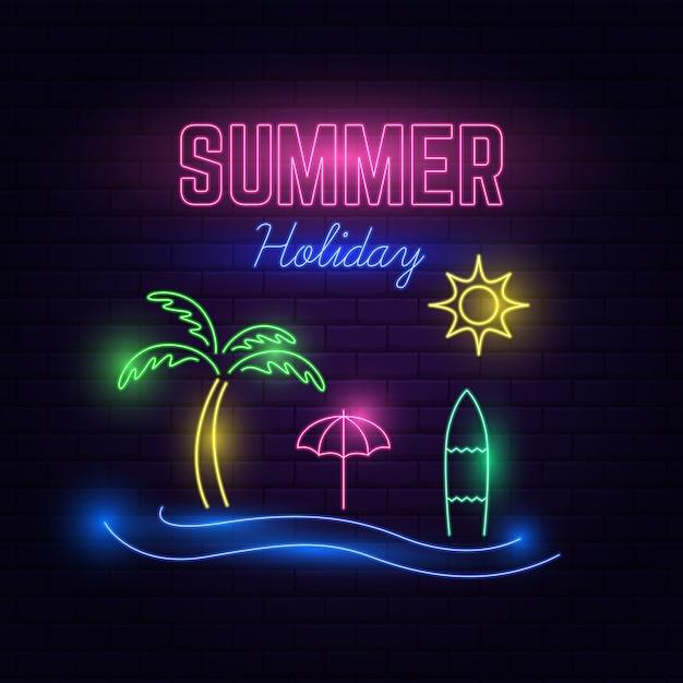 Neon light vacances d'été Vecteur Premium