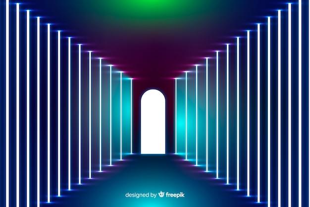 Neon lights stage background Vecteur gratuit