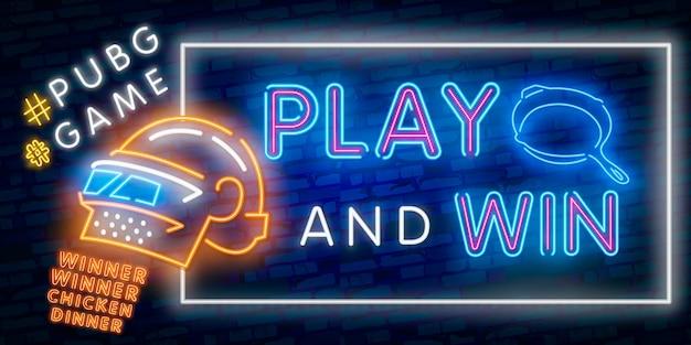 Néon logo d'illustration vectorielle et texte dîner de poulet gagnant gagnant. texte gagnant Vecteur Premium