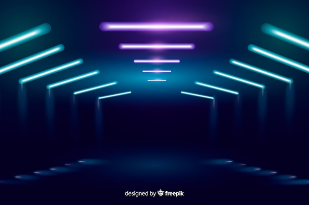 Néon lumières de fond Vecteur gratuit