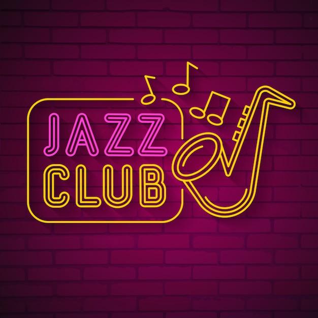 Neon Music Jazz Logo Néon On Dark Vecteur Premium