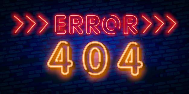 Néon de la page d'erreur 404 non trouvée Vecteur Premium