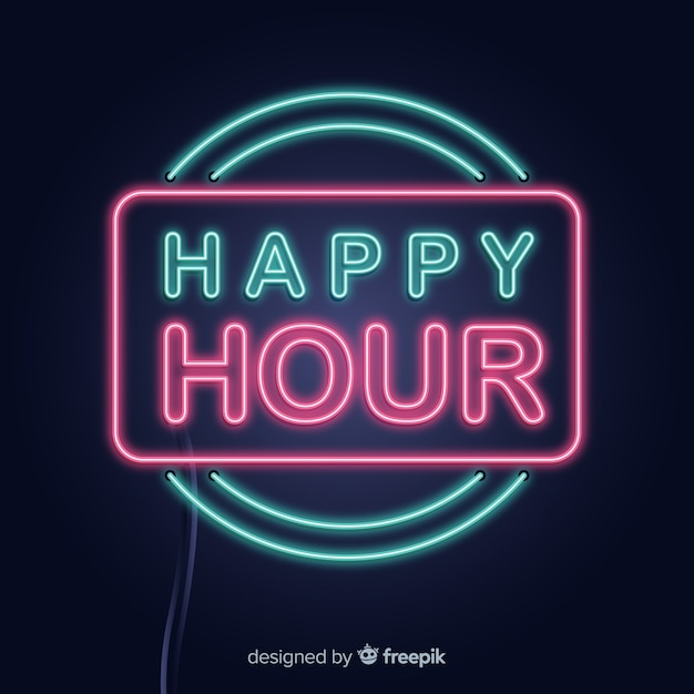 Neon rectangle happy hour signe Vecteur gratuit