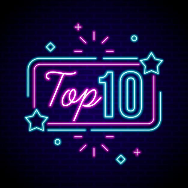 Neon Top 10 Des Récompenses Vecteur Premium