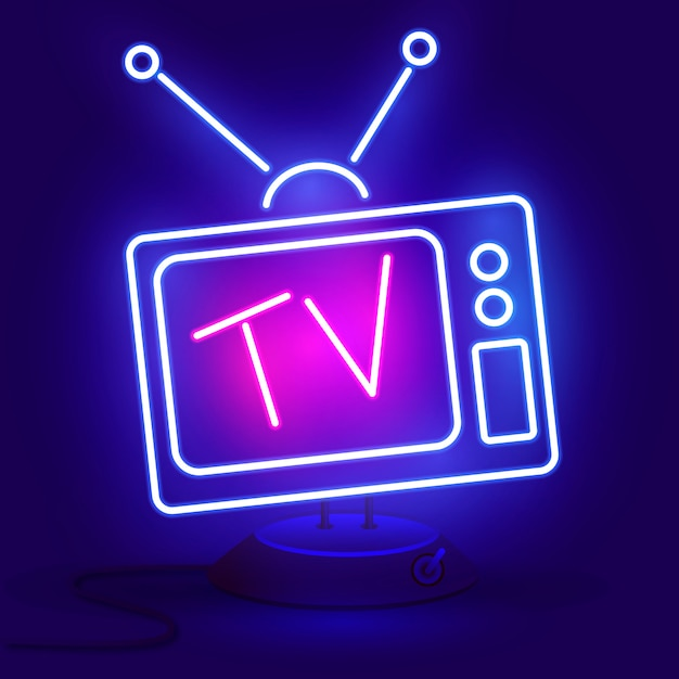 Neon tv icon blue Vecteur Premium